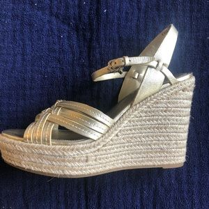 Coach Platform Gold Sandals with Woven Rope Heel